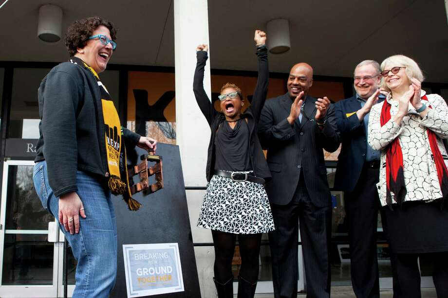 Longtime KEXP listener Cheryl Hanson was given the honor of flipping the switch at the station's groundbreaking ceremony for its new home at Seattle Center on Wednesday morning, Jan. 28, 2015. Photo: ANNA ERICKSON, SEATTLEPI.COM / SEATTLEPI.COM