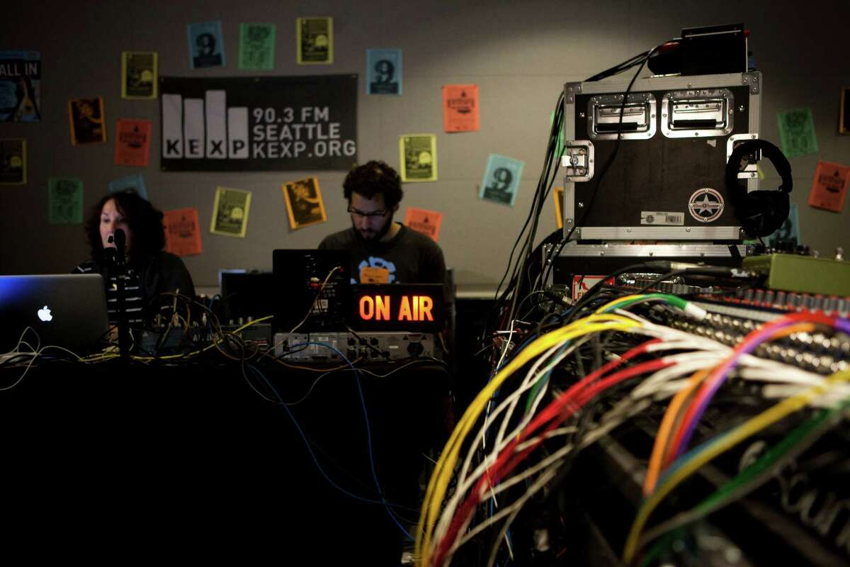 KEXP DJ Cheryl Waters broadcasts the Mid-Day Show in the station's new home.