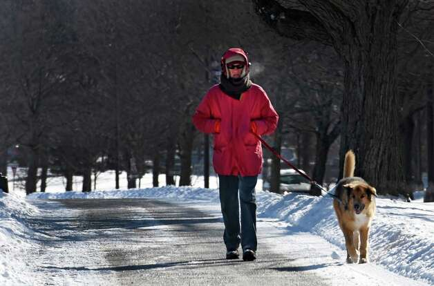 Bob Bettecker, bundled up to protect from the cold walks his pooch Ajax around the perimeter road at the University at Albany Wednesday morning Jan. 28, 2015 Albany, N.Y.   (Skip Dickstein/Times Union) Photo: SKIP DICKSTEIN