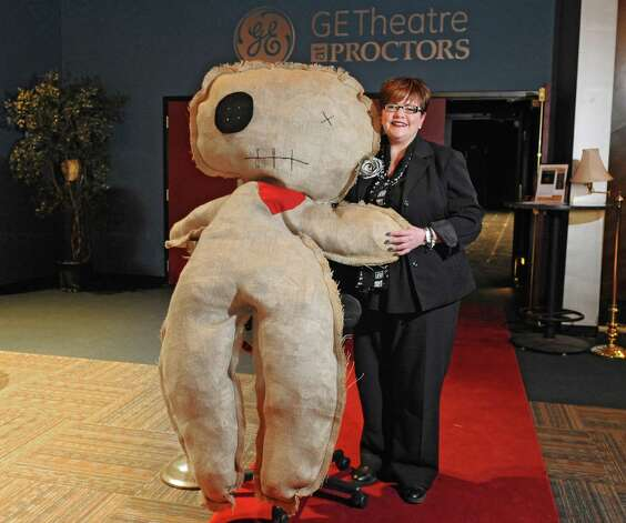 "Leesa Perazzo, special events manager for Proctor's, stands with Pat the voodoo doll at Proctor's Theatre on Wednesday, Jan. 28, 2015 in Schenectady, N.Y. Proctor's is holding a ""Love Bites"" Valentine's Day event which will take place in the GE Theatre at Proctor's. (Lori Van Buren / Times Union) Photo: Lori Van Buren"