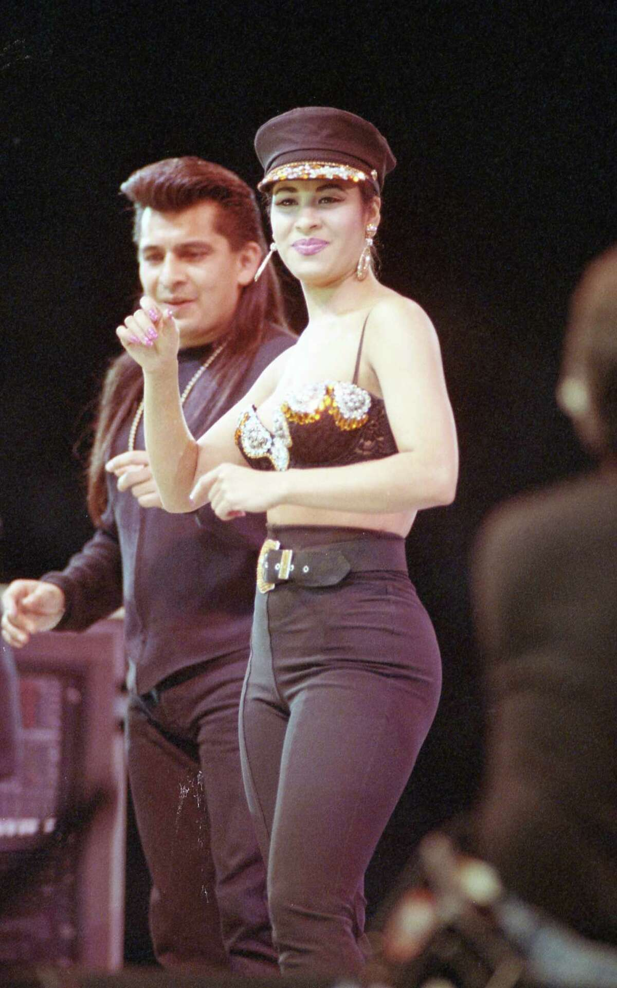 Selena performs during a Sunday matinee on February 28, 1993 at the Houston Livestock Show and Rodeo inside the Astrodome that drew 66,994 people and set an all-time attendance record.
