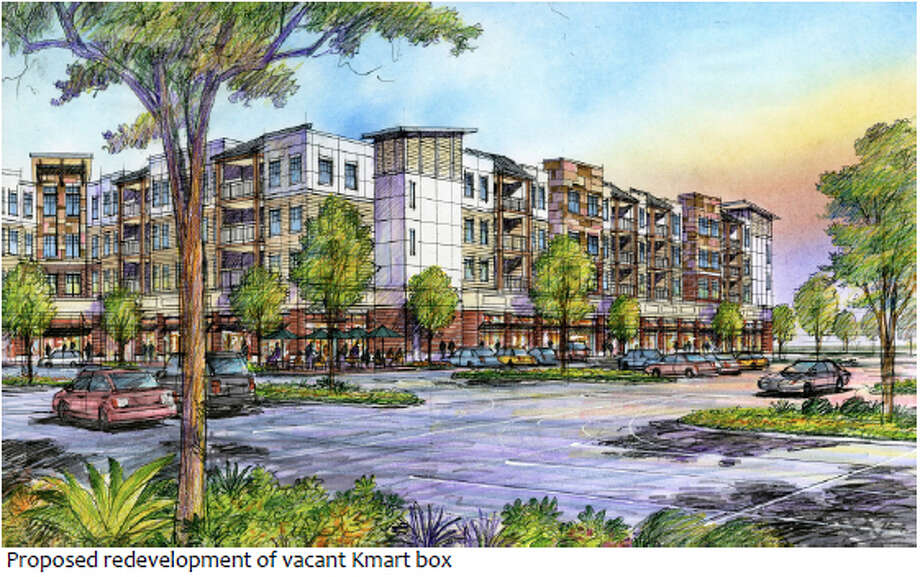 This archictural drawing from Windsor Development Group of Clifton Park shows part of their $50 million plan build more than 200 and shops at a former Kmart site off of Route 146. (Windsor Development Group)