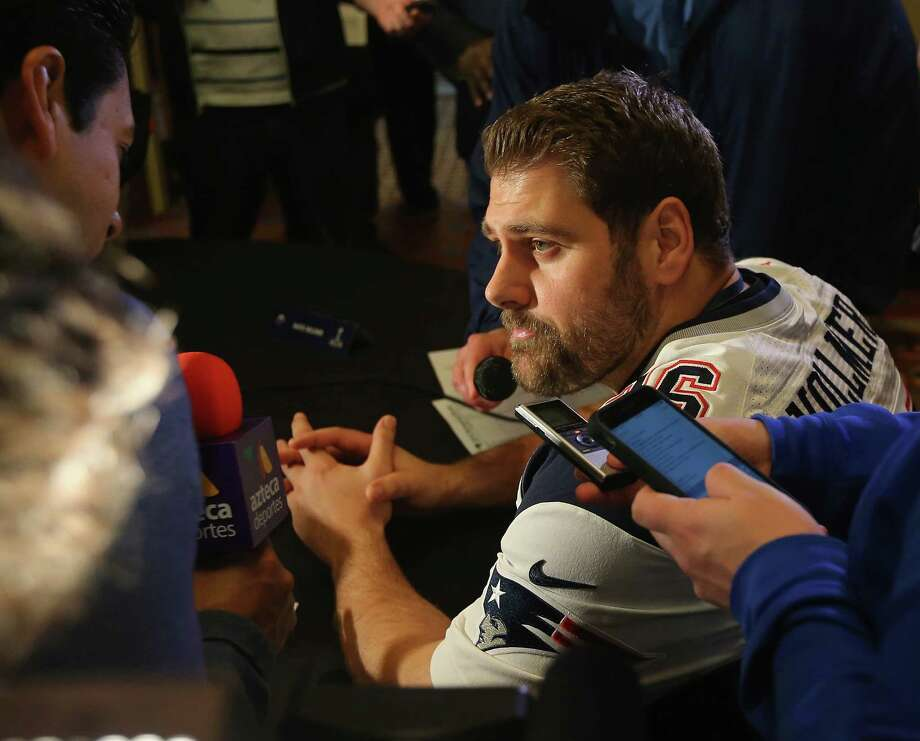 CHANDLER, AZ - JANUARY 28:  Sebastian Vollmer #76 of the New England Patriots speaks to the media during the New England Patriots Super Bowl XLIX Media Availability on January 28, 2015 at the Sheraton Wild Horse Pass in Chandler, Arizona.  (Photo by Elsa/Getty Images) Photo: Elsa, Staff / 2015 Getty Images