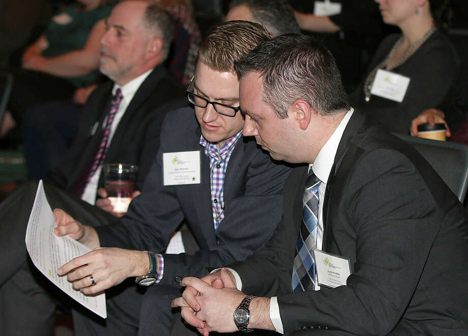 Were you Seen at the Tech Valley Young Professionals video debut at the GE Theatre at Proctors in Schenectady on Wednesday, Jan. 28, 2015?  The purpose of the video is to attract and retain young professionals in the Capital District, For more information, visit http://acchamber.org/MemberBenefits/businesscouncils/YPN.aspx Photo: (C) JOE PUTROCK 2014, Joe Putrock/Special To The Times Union
