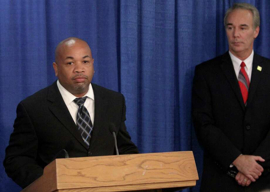 Assemblyman Carl Heastie, D-Bronx, left, and Executive Director of the Pharmacists Society of the State of New York, right, speak at a news conference calling for Governor Cuomo to sign legislation that would prohibit health insurance provisions that require filling prescriptions through mail order services on Tuesday, Aug. 23, 2011 at the Legislative Office Building. (Erin Colligan / Special To The Times Union) Photo: Erin Colligan / 00014390A
