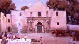 "A Julian Onderdonk painting portrays some of the city's first culinary stars, the ""Chili Queens at the Alamo."""