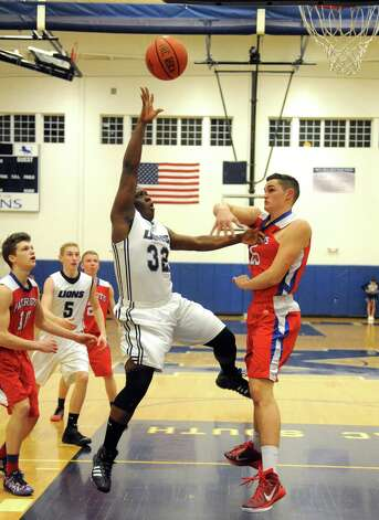 Mekeel's Jeff Gomez goes in for a basket  during their boy's high school basketball game against Broadalbin-Perth's on Wednesday Jan. 27, 2015 in Scotia , N.Y. (Michael P. Farrell/Times Union) Photo: Michael P. Farrell / 00030367A