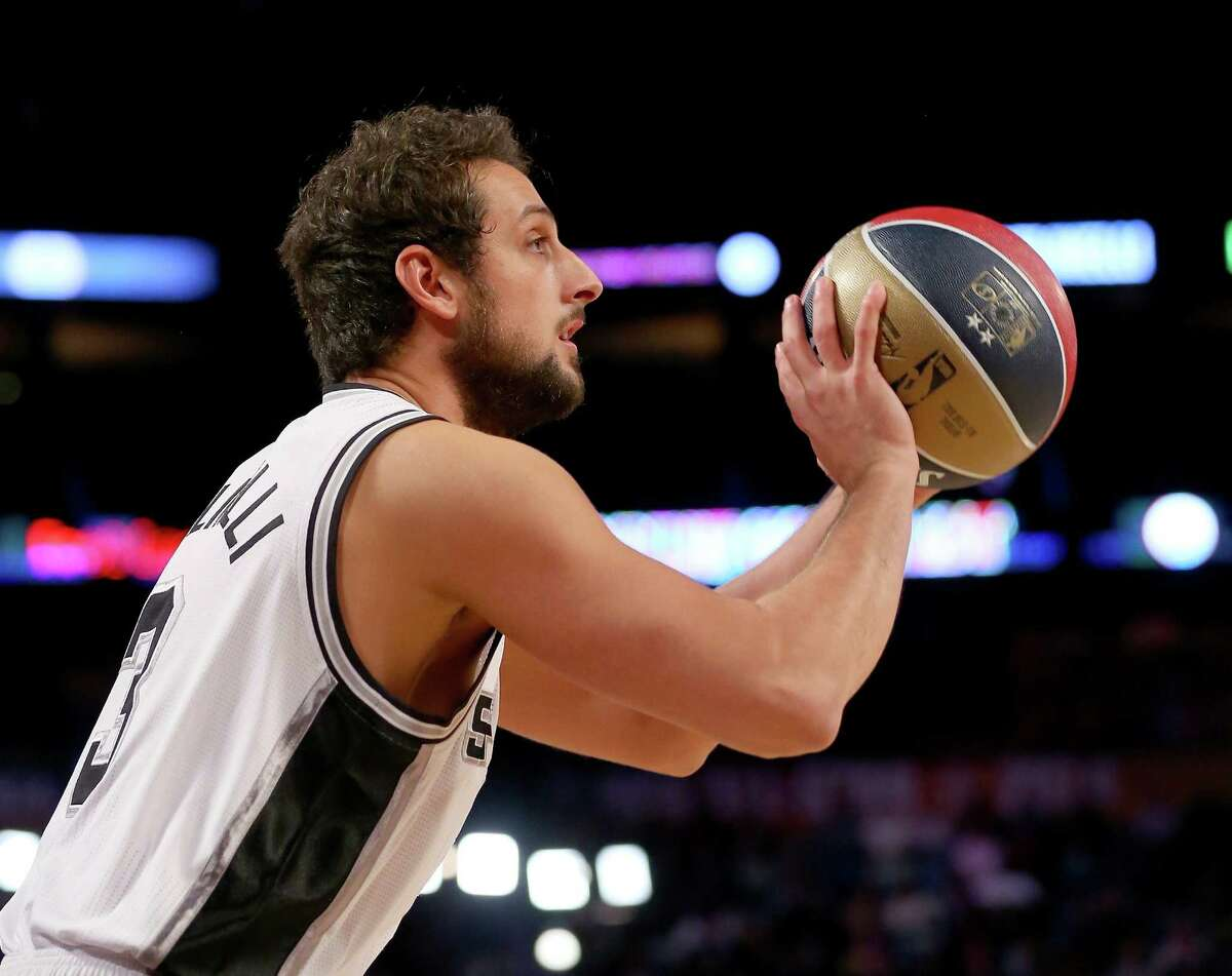 Marco Belinelli competes in the 2014 Foot Locker Three-Point Contest as part of the NBA All-Star Weekend at the Smoothie King Center on February 15, 2014 in New Orleans, Louisiana. Belinelli will be defeding his title at Madison Square Garden.