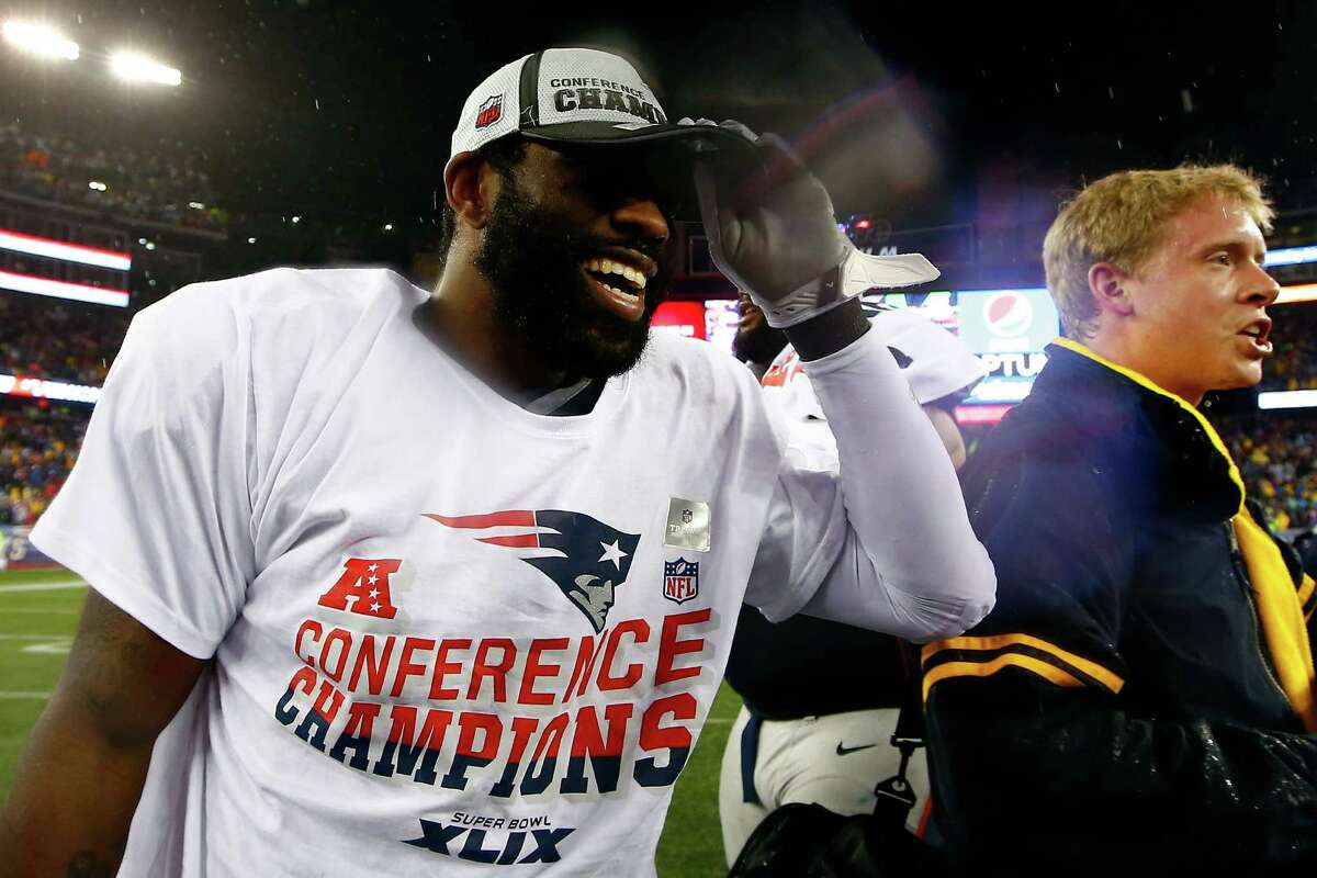 Cornerback Darrelle Revis of the New England Patriots celebrates after defeating the Indianapolis Colts in the AFC championship game at Gillette Stadium on Jan.18, 2015, in Foxborough, Massachusetts. The Patriots defeated the Colts 45-7.