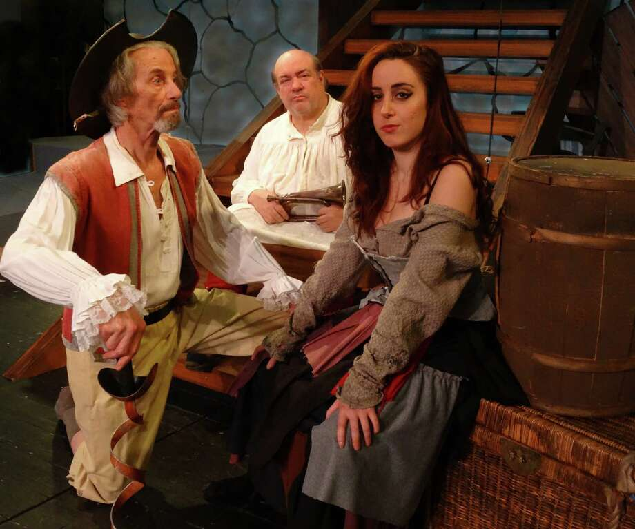 "Three of the main characters in ""Man of La Mancha,"" Don Quixote, Aldonza and Sancho, are seen here in Curtain Call's production of the popular musical, which will open Friday, Feb. 6, 2015, the Kweskin Theatre in Stamford, Conn. The characters are played by Ted Yudain and Rachel Schulte of Stamford and Bill Russell, of Bronx, N.Y. This is the 50th anniversary production of the play's original run. Photo: Contributed Photo / Stamford Advocate Contributed photo"