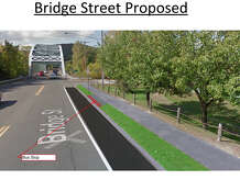 Streetscape and sidewalk work is scheduled to be done this spring on Bridge Street in New Milford. Computer imaging depicts what the entrance to Veterans Bridge heading west on the street would look like.