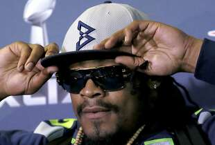Marshawn Lynch had little to say at a pre-Super Bowl media session.