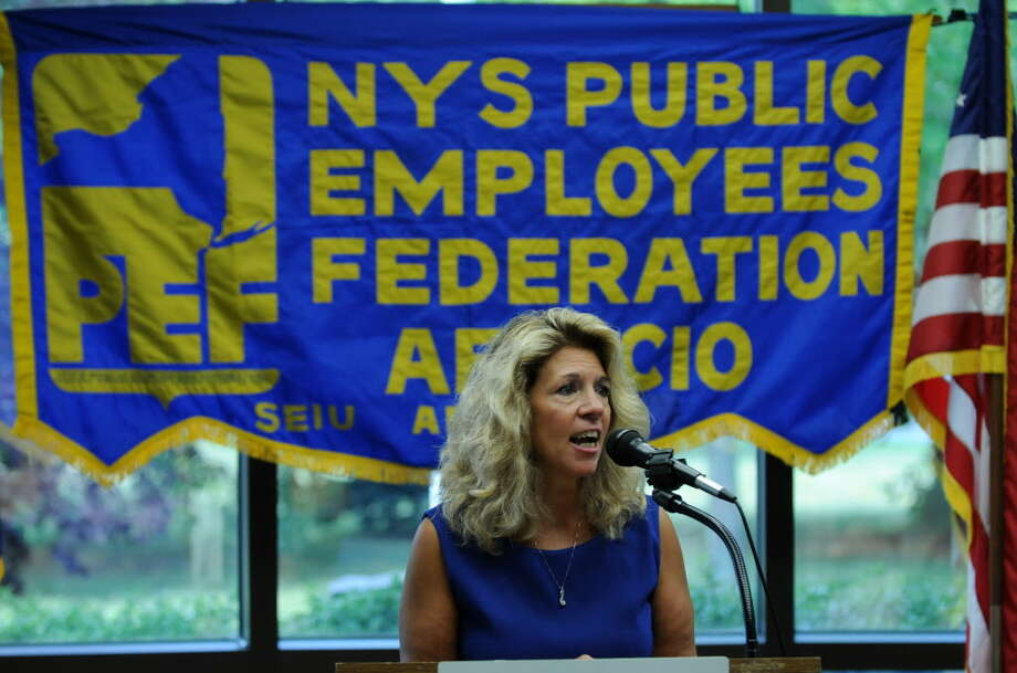 Public Employees Federation President Susan Kent speaks after being sworn in on Wednesday Aug. 1, 2012 in Latham, NY. (Philip Kamrass / Times Union archive) Photo: Philip Kamrass / 00018680A