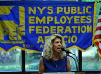 Public Employees Federation President Susan Kent speaks after being sworn in on Wednesday Aug. 1, 2012 in Latham, NY. (Philip Kamrass / Times Union)