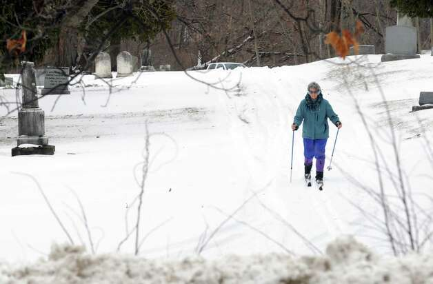 Donna Simms of troy cross country skis at Mount Ida Catholic Cemetery off Pawling Avenue on Thursday Jan. 29, 2015 in Troy , N.Y. (Michael P. Farrell/Times Union) Photo: Michael P. Farrell