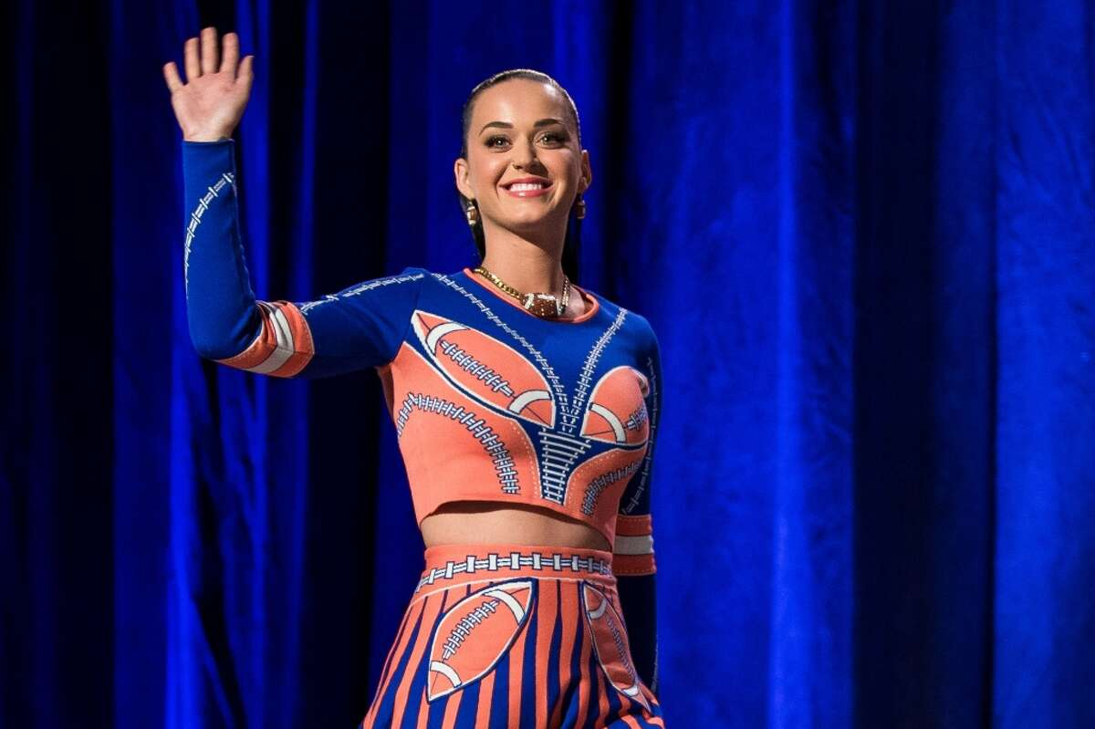 Pop singer starlet Katy Perry appears at the Super Bowl XLIX's Halftime Show Press Conference Thursday, January 29, 2015, at the Phoenix Convention Center in Arizona. American actress and singer-songwriter Idina Menzel will perform for the pregame show and Katy Perry will take on the halftime show.