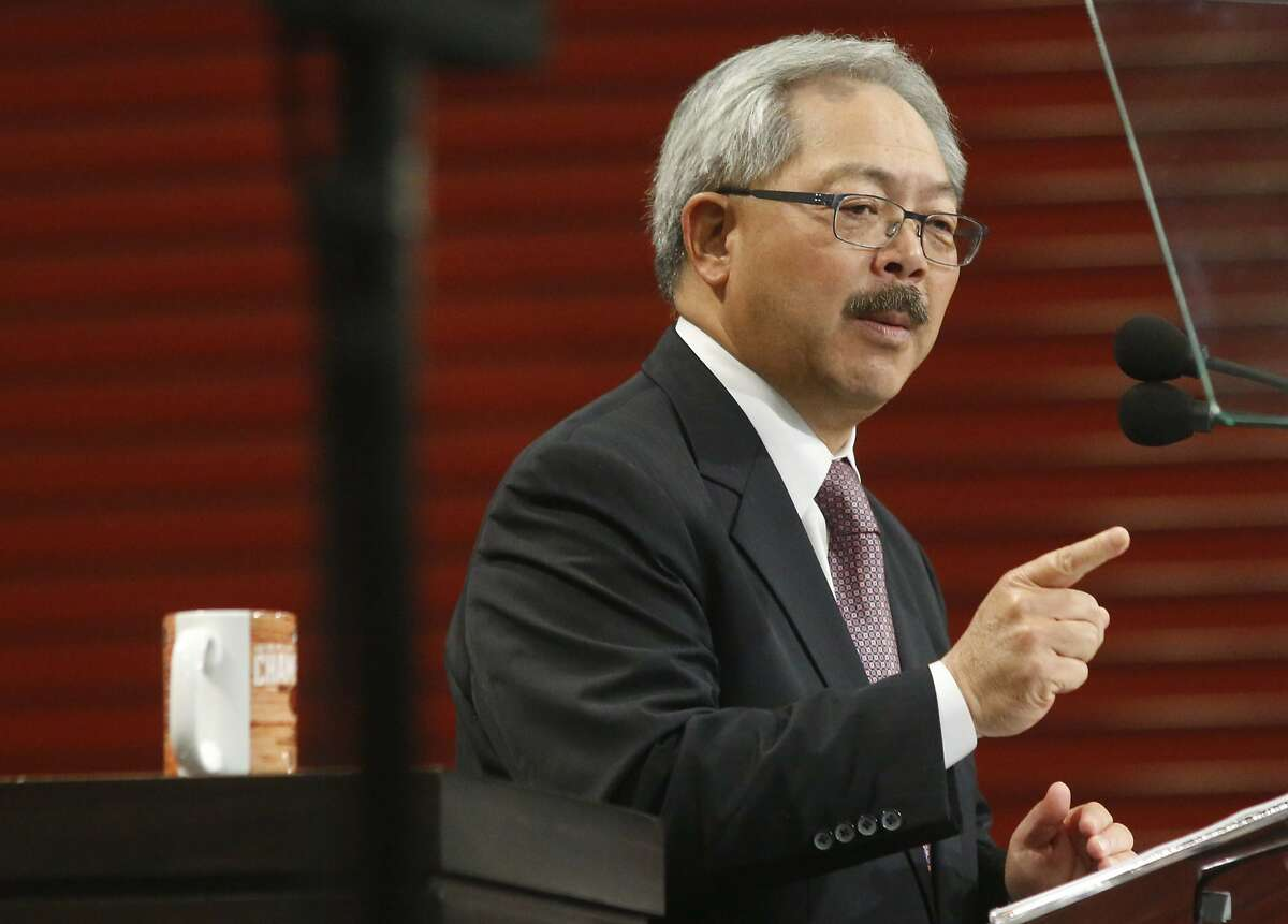 In this file image, San Francisco Mayor Ed Lee delivers his State of the City speech at the San Francisco Wholesale Produce Market on Thursday January 15, 2015 in San Francisco, Calif.