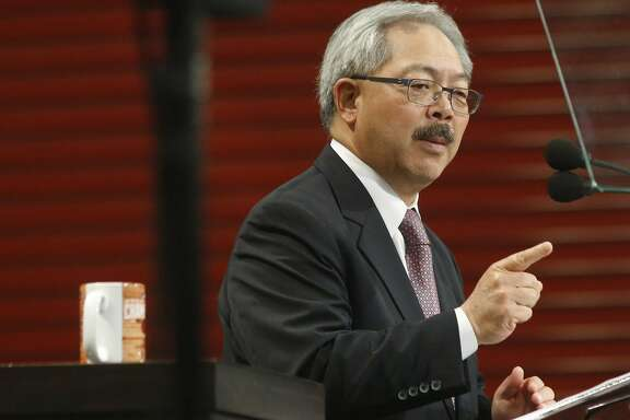 San Francisco Mayor Ed Lee delivers his State of the City speech at the San Francisco Wholesale Produce Market on Thursday January 15, 2015 in San Francisco, Calif.