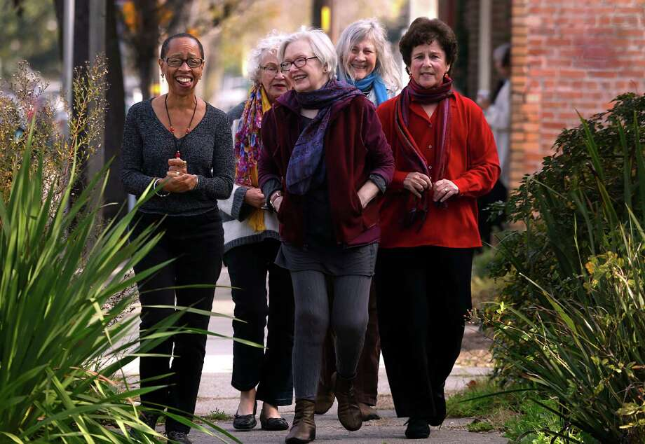 Linda Burnham (left), Trina Robbins, Susan Griffin, Alta and Ruth Rosen discussed their late '60s-early '70s activism. Photo: Liz Hafalia / The Chronicle / ONLINE_YES