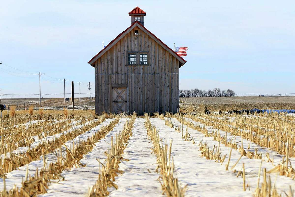 A barn called the Energy Barn, which was built by anti-pipeline activists directly on the route of the Keystone XL pipeline, stands in a snowy corn field near Bradshaw, Neb. The Senate passed legislation to authorize Keystone XL on Thursday.