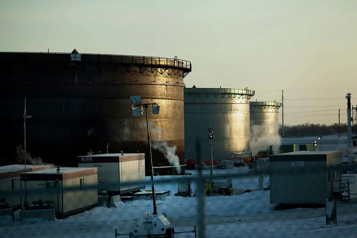 Storage tanks stand at the TransCanada Corp. Hardisty Terminal 2. They were built in anticipation of the Keystone XL pipeline approval. But on Friday, President Barack Obama rejected the pipeline.