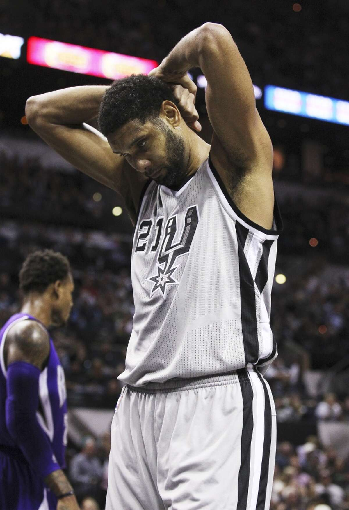 Spurs' Tim Duncan (21) reacts after missing a shot against the Sacramento Kings at the AT&T Center on Friday, Nov. 28, 2014. (Kin Man Hui/San Antonio Express-News)