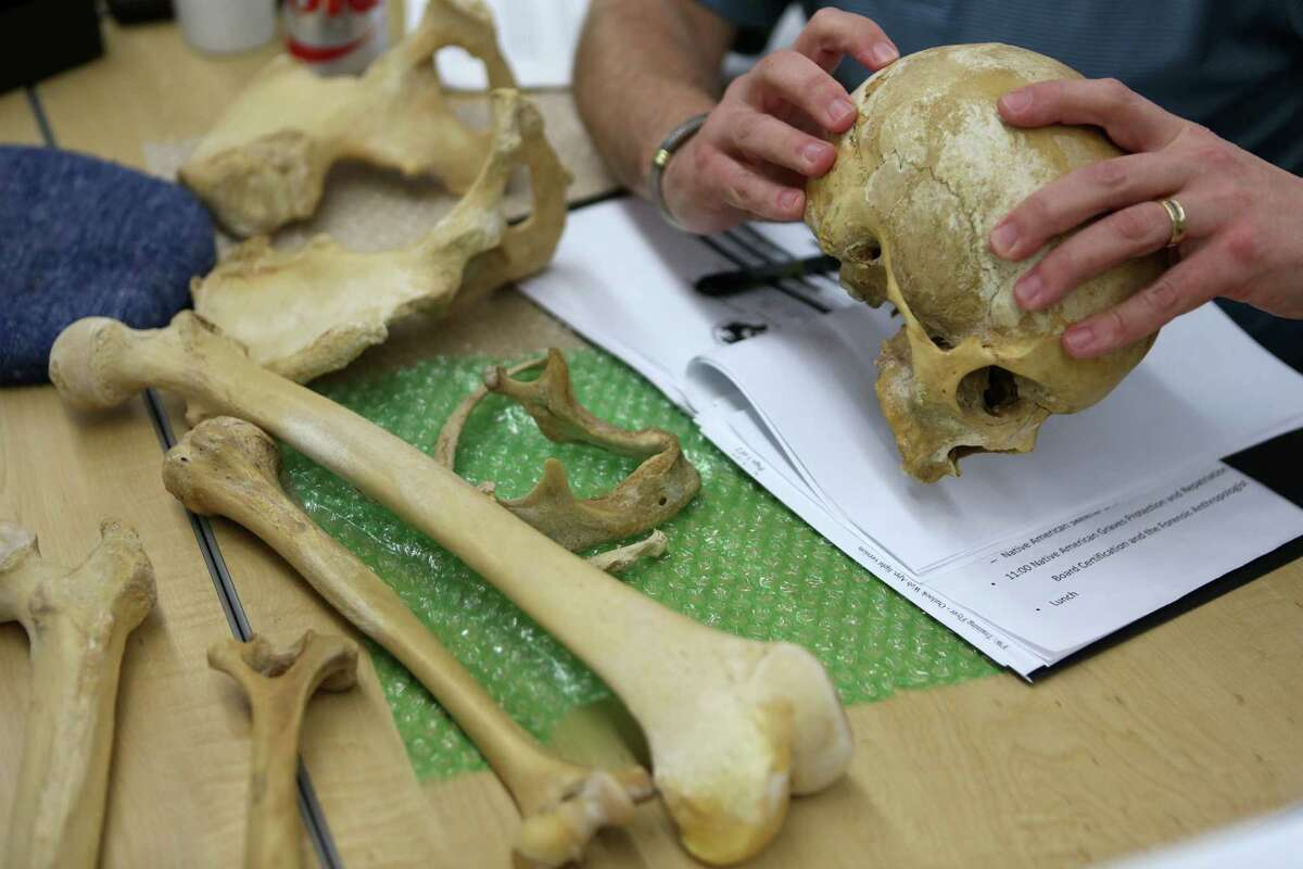 The Southeast Texas Applied Forensic Science facility holds a training session for the Montgomery County District Attorney's Office on forensic anthropology to help them better investigate and present cases involving human remains at Sam Houston State University satellite building in the Lone Star Campus on Thursday, Jan. 29, 2015, in The Woodlands.