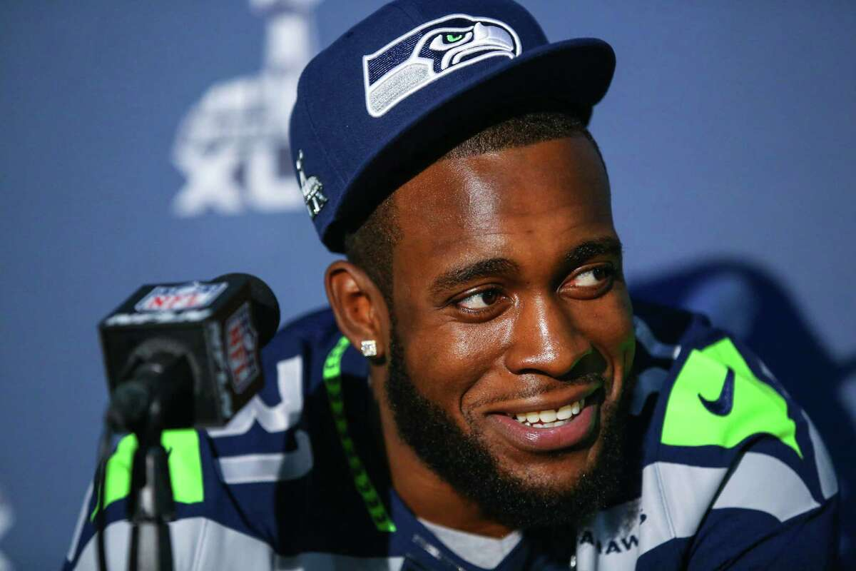 Kam Chancellor speaks during Super Bowl XLIX media interviews on Wednesday, January 28, 2015 at the team's hotel in Phoenix, Arizona.
