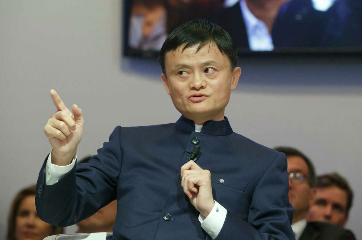 """In this Friday, Jan. 23, 2015 file photo, Chinese e-commerce giant Alibaba Group founder and executive chairman Jack Ma speaks during the panel session """"An Insight, An Idea"""" at the World Economic Forum in Davos, Switzerland. (AP Photo/Michel Euler, File)"""