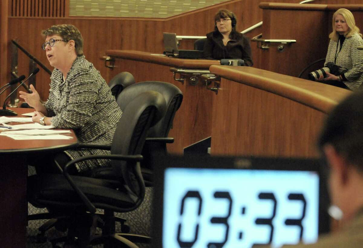 NYS Department of Transportation Commissioner Joan McDonald answers questions during the New York State Legislature joint budget hearing on transportation Thursday Jan. 29, 2015 in Albany , N.Y. (Michael P. Farrell/Times Union)
