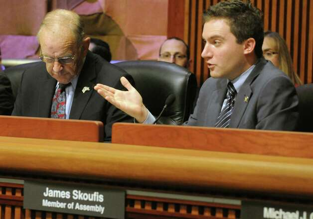 Assemblyman James Skoufis ask questions of  NYS Department of Transportation Commissioner Joan McDonald during the New York State Legislature joint budget hearing on transportation Thursday Jan. 29, 2015 in Albany , N.Y. (Michael P. Farrell/Times Union) Photo: Michael P. Farrell