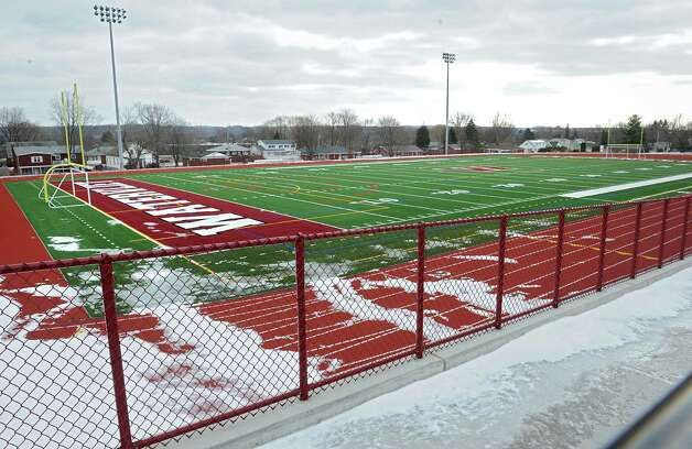 View of the football field at Watervliet High School on Friday, Jan. 23, 2015 in Watervliet, N.Y. Watervliet is again in the top 10 districts in the state comptroller's school fiscal stress report. (Lori Van Buren / Times Union) Photo: Lori Van Buren / 00030330A