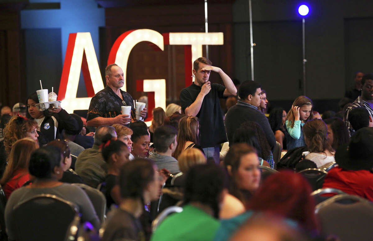 """""""America's Got Talent"""" hopefuls await their turn for an audition at the Convention Center."""
