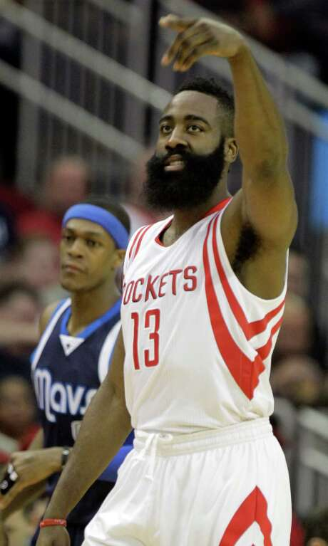 James Harden was an easy pick as a reserve for the NBA All-Star Game. What's not so cut-and-dried is if he'll replace the injured Kobe Bryant as a starter. Photo: Melissa Phillip, Staff / © 2014  Houston Chronicle