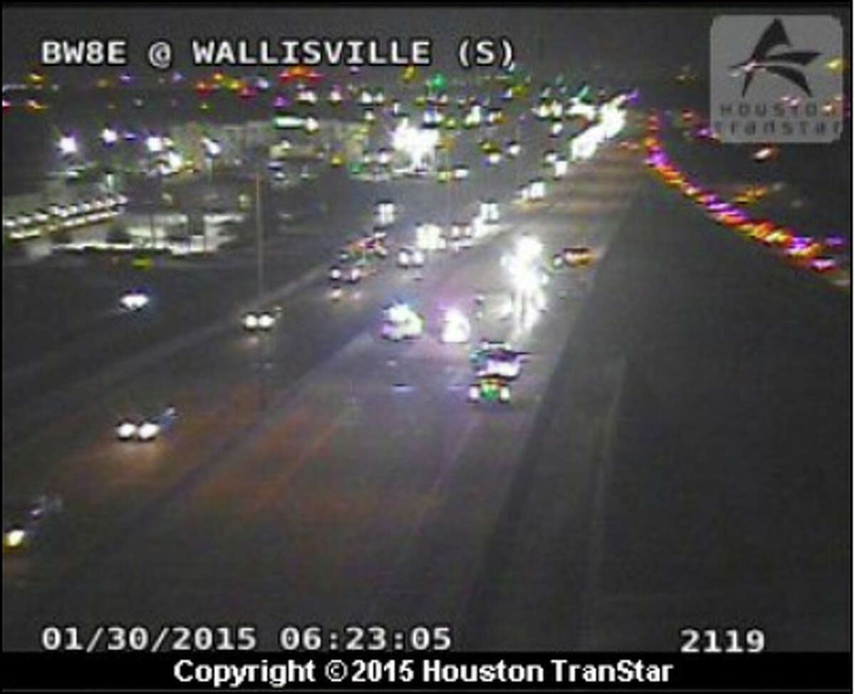 Traffic was snarled on the Sam Houston Tollway in east Harris County after a cement truck overturned about 5:30 a.m. Friday near Wallisville, according to Harris County Precinct 3 Constable's Office.
