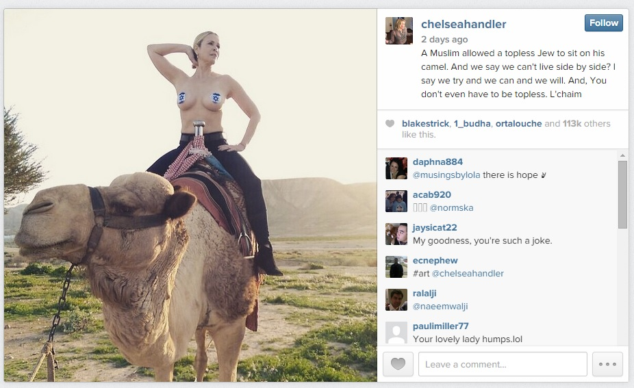 Chelsea handler posts photo wearing face masks on breasts, face