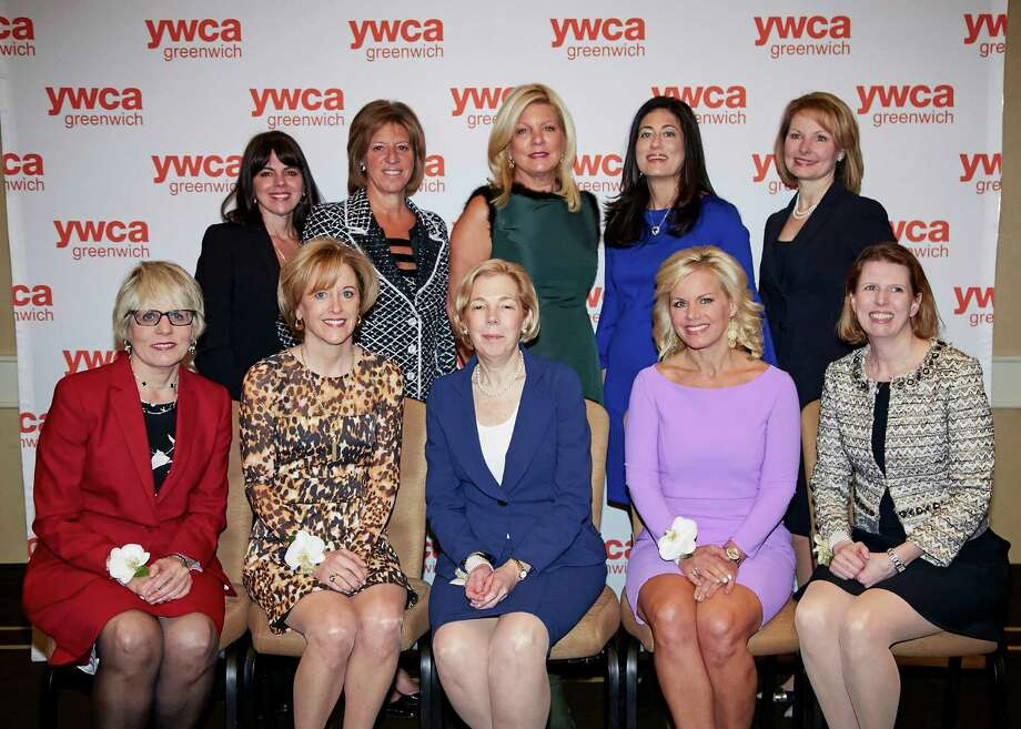 The YWCA of Greenwich Brava Award honorees, seated left to right, Karen Kelly, Ellen Komar, Abby Kohnstamm, Gretchen Carlson and Mimi Duff, standing left to right, Dr. Toni Lyn Salvatore, Terry Lamantia Cataldo, Cindy Rinfret, Victoria Newman and Carolyn Reers at the Hyatt Regency Greenwich, Conn., Friday, Jan. 30, 2015. The YWCA of Greenwich honored these ten accomplished women who are leaders in their respective fields, reflecting the organization's core mission of empowering women. Photo: Contributed, Contributed Photo / Greenwich Time Contributed