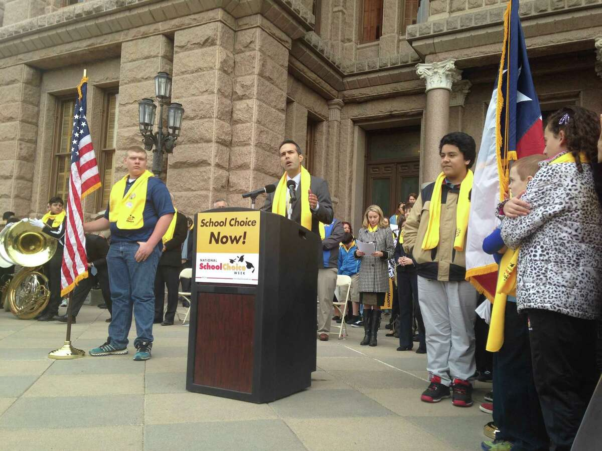 Land Commissioner George P. Bush addresses a school choice rally in Austin on Friday, January 30, 2015.