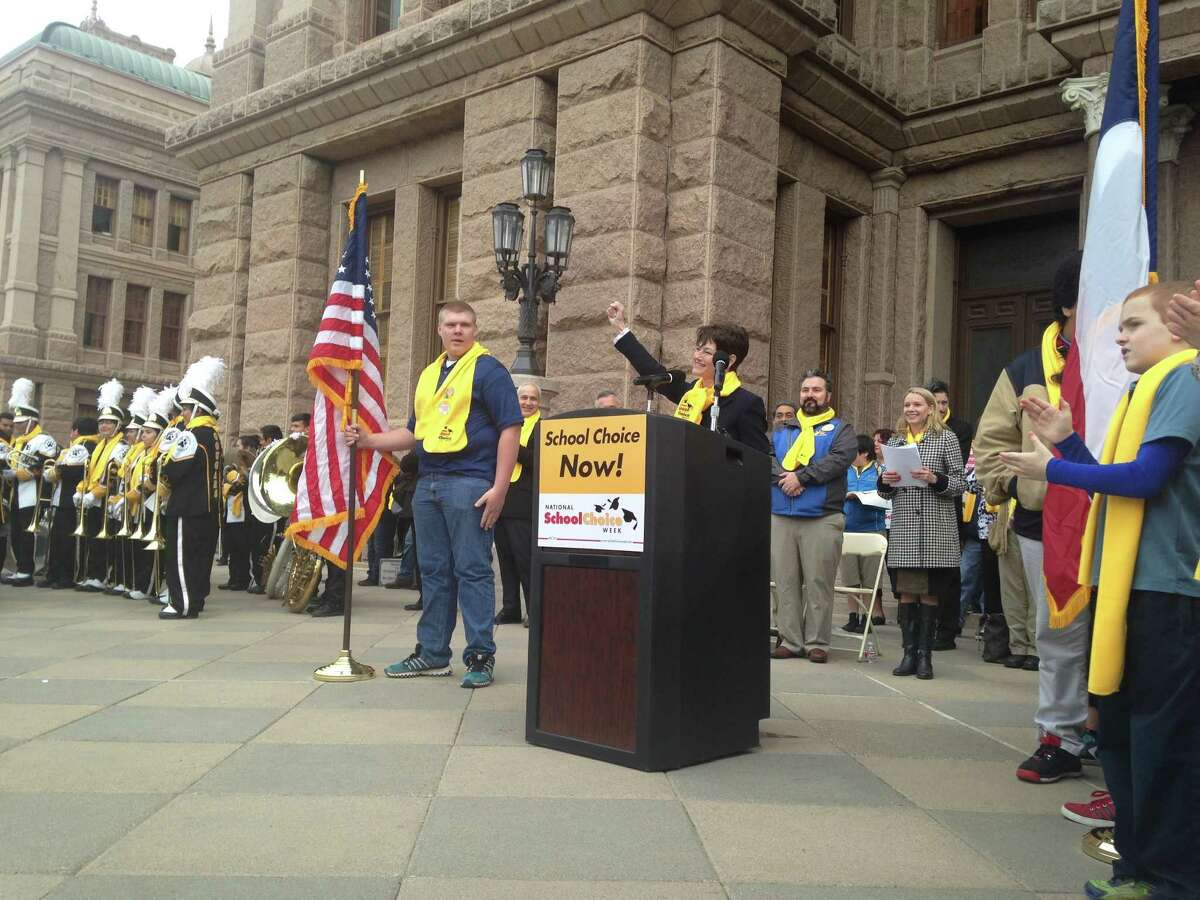 Sen. Donna Campbell, R-New Braunfels, addresses a school choice rally in Austin on Friday, January 30, 2015.