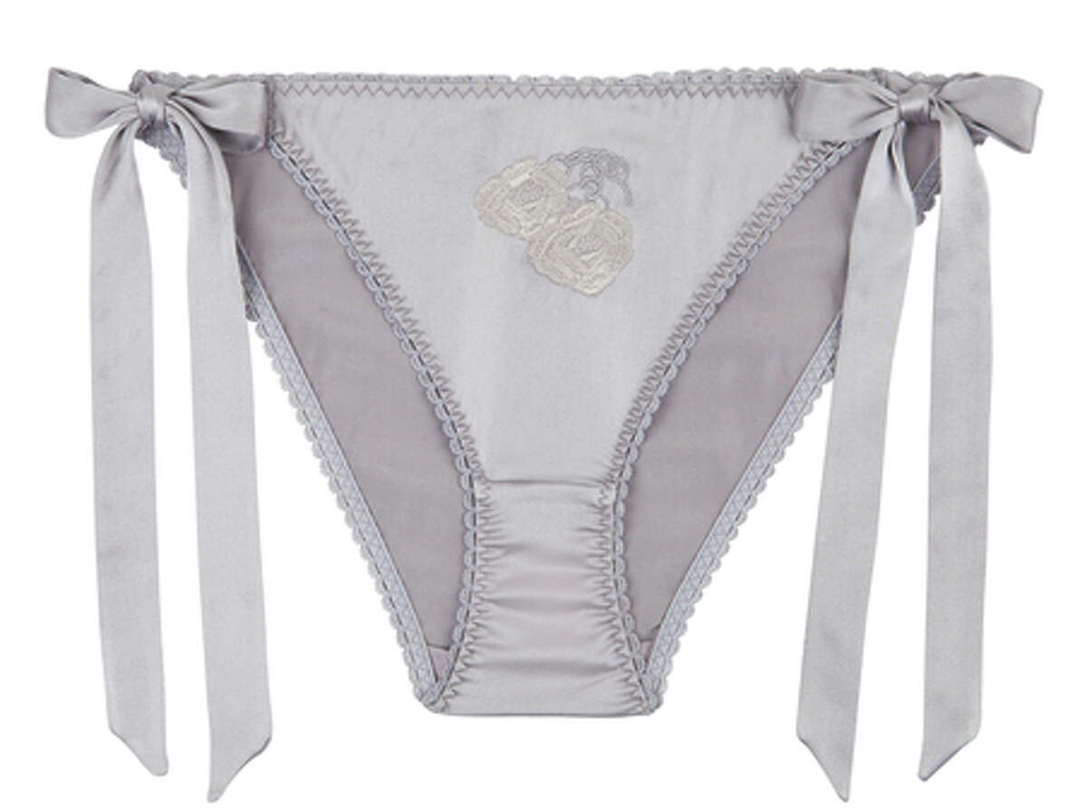 Lock eyes on Stella McCartney's sexy, silky Grey Valentine briefs. The playful panties, with delicate side bows and flirty floral handcuff embroidery detail, give frilly pink lingerie a run for its money and nod to the film everyone will be whispering about this weekend. $75. Stella McCartney, 660 Stanford Shopping Center, Palo Alto; www.stellamccartney.com