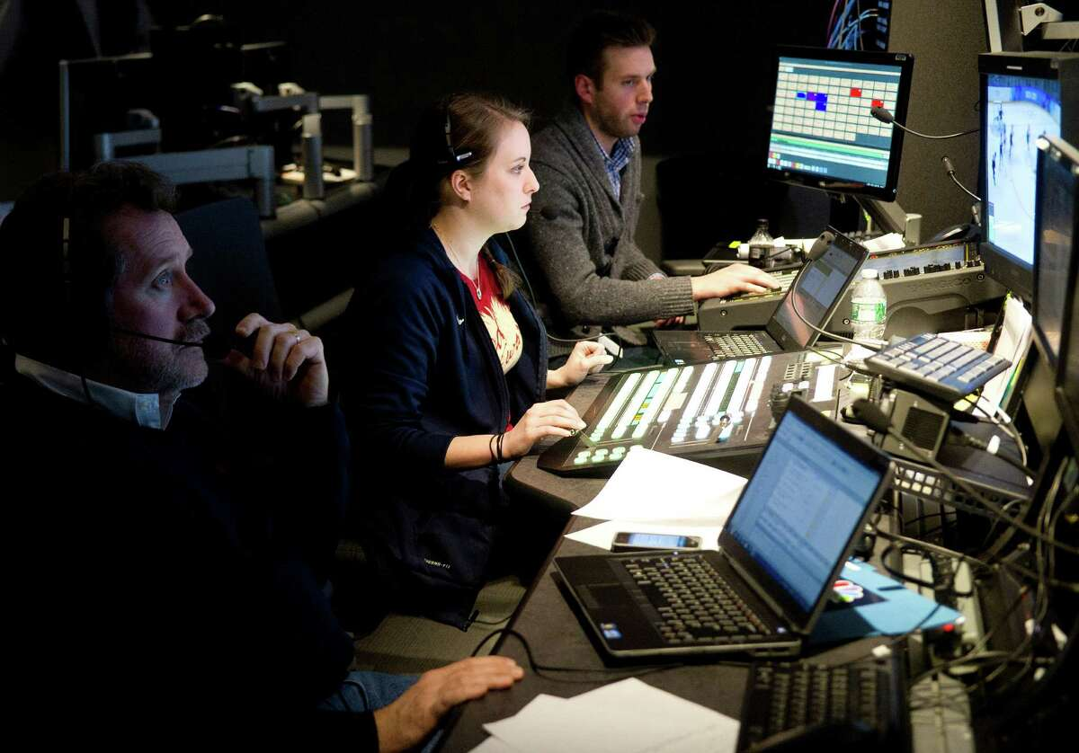 NBC Sports producers are pictured working the Stamford studio during the 2014 Winter Olympics. One year later, the network could set a viewership record with its broadcast of Super Bowl XLIX in Glendale, Ariz.