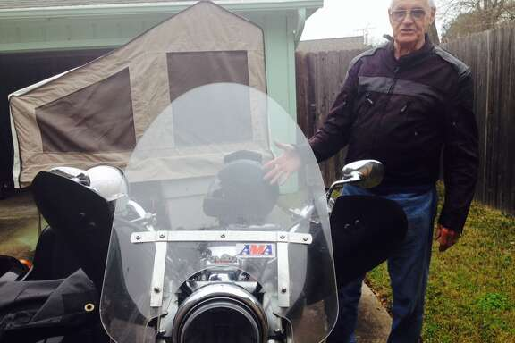 Del Lonquist has gone more than 16,000 miles on his motorcycle since last March. He uses the pop-up camper trailer to camp along the way as he criss-crosses the country.