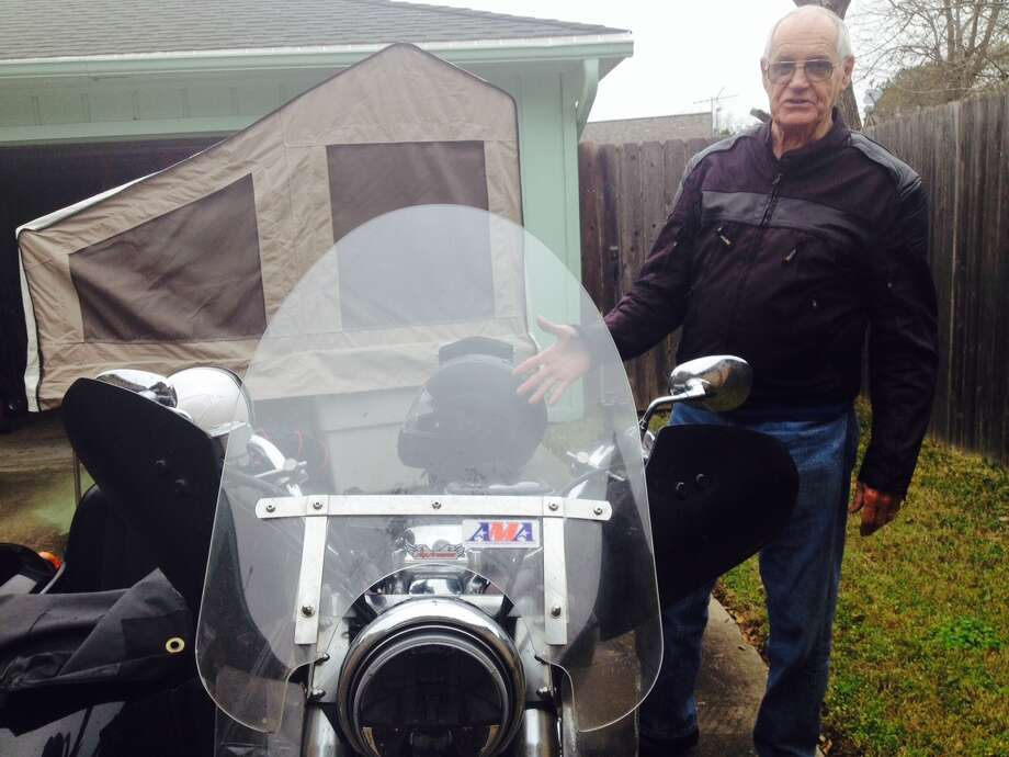Since March, Del Lonnquist has traveled more than 16,000 miles on his motorcycle. He camps in the pop-up trailer.