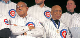 Billy Williams (left) and Ernie Banks were seated together, naturally, at a Cubs event in Chicago last year.