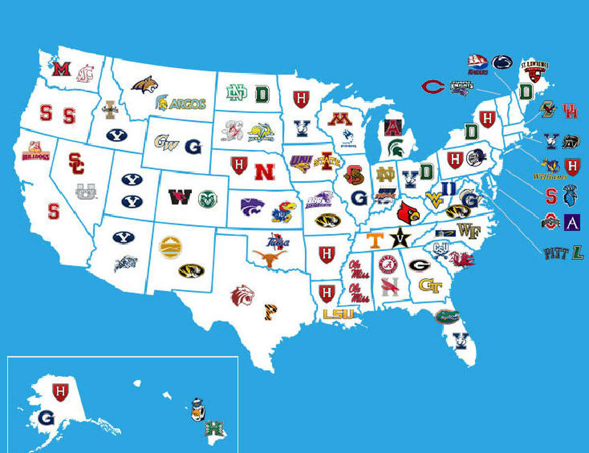 Where the 114th U.S. Senate went to college, as shown by university logos.