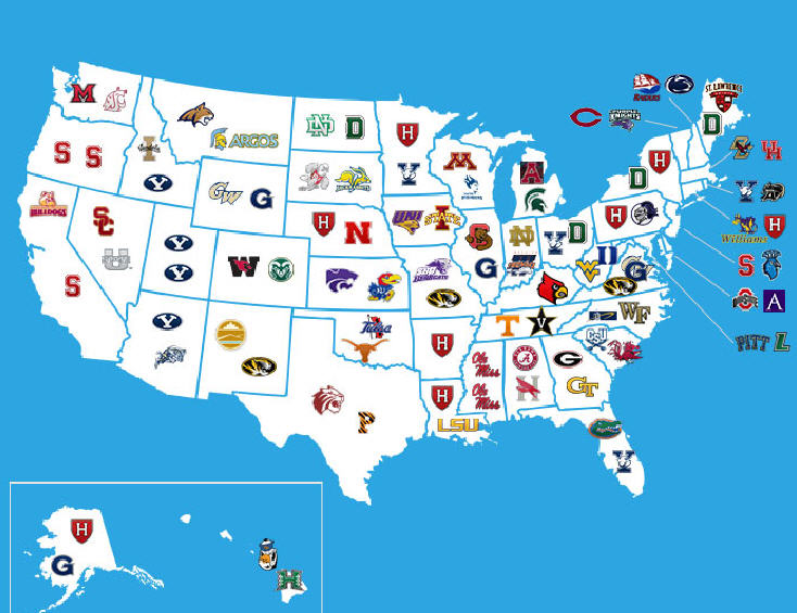 Top Universities In USA Best Universities In USA Print Campus - Us map of colleges
