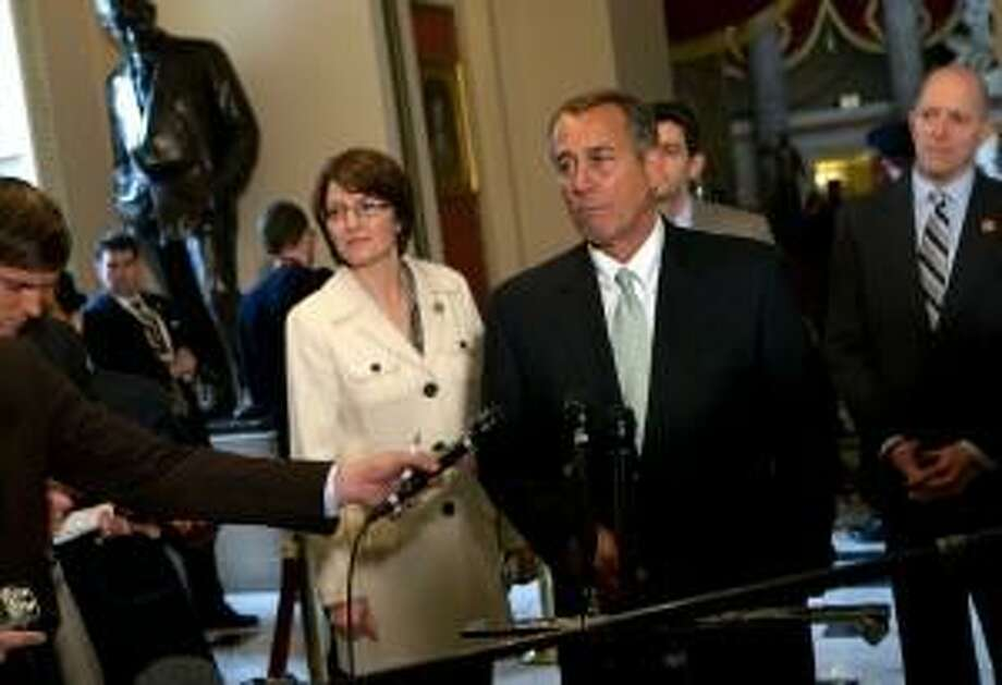 Rep. Cathy McMorris Rodgers, R-Wash., here with then-House Speaker John Boehner, is the lone woman in the House Republican leadership. She is reportedly in line to become U.S. Interior Secretary.