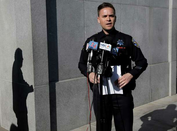 Officer Albie Esparza of the San Francisco Police Department speaks during a news conference where he disclosed updated information about a person of interest in the discovery of body parts found in a suitcase South of Market.