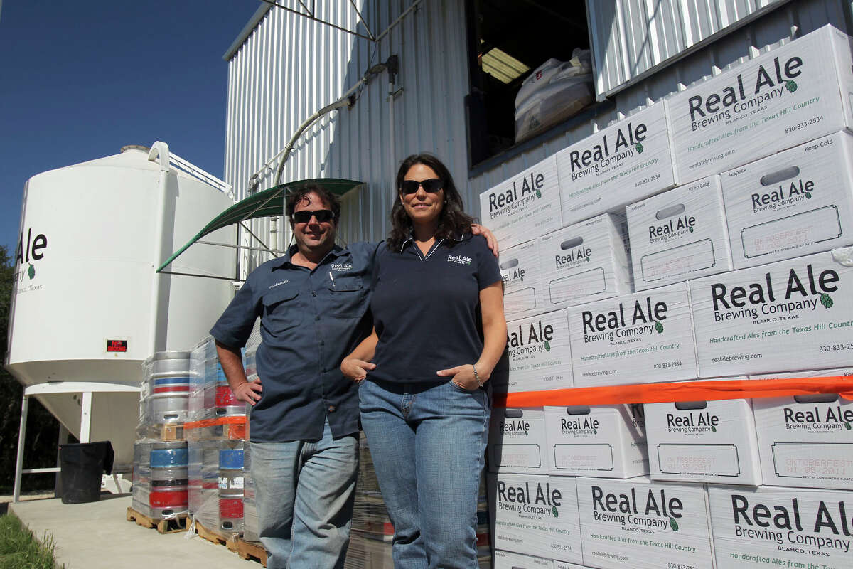 Brad Farbstein (left) and his partner Gabriel (cq) Gregerman (right) run the Real Ale Brewing Co. in Blanco.