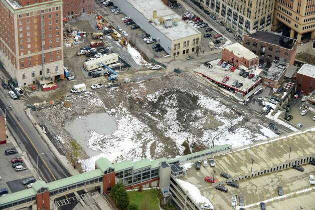 Site of the future Albany Convention Center is viewed from Corning Tower Monday afternoon, Dec. 15, 2014, in Albany, N.Y. (Will Waldron/Times Union) Photo: WW